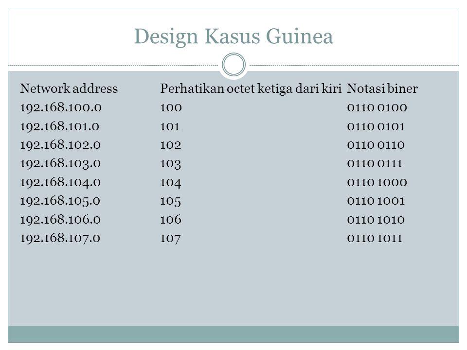 Design Kasus Guinea Network addressPerhatikan octet ketiga dari kiriNotasi biner 192.168.100.01000110 0100 192.168.101.01010110 0101 192.168.102.01020