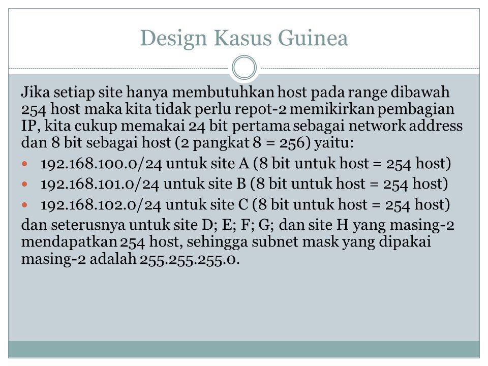 Design Kasus Guinea Jika setiap site hanya membutuhkan host pada range dibawah 254 host maka kita tidak perlu repot-2 memikirkan pembagian IP, kita cu