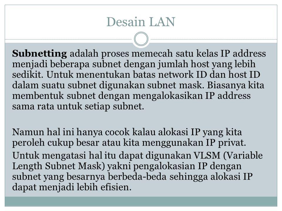 Desain LAN Subnetting adalah proses memecah satu kelas IP address menjadi beberapa subnet dengan jumlah host yang lebih sedikit. Untuk menentukan bata