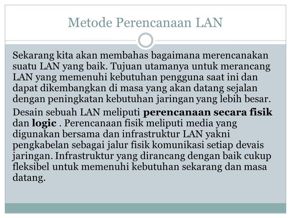 Metode Perencanaan LAN Sekarang kita akan membahas bagaimana merencanakan suatu LAN yang baik. Tujuan utamanya untuk merancang LAN yang memenuhi kebut