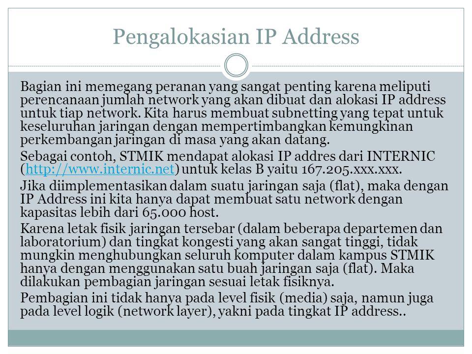 Pengalokasian IP Address Bagian ini memegang peranan yang sangat penting karena meliputi perencanaan jumlah network yang akan dibuat dan alokasi IP ad