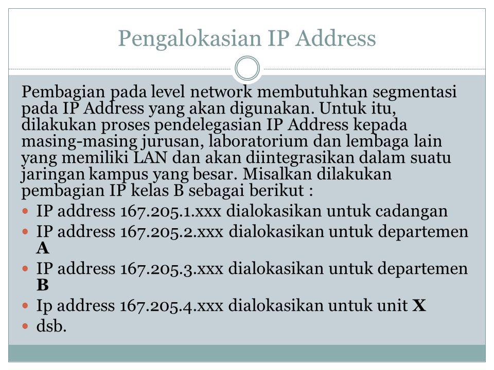 Pengalokasian IP Address Pembagian pada level network membutuhkan segmentasi pada IP Address yang akan digunakan. Untuk itu, dilakukan proses pendeleg