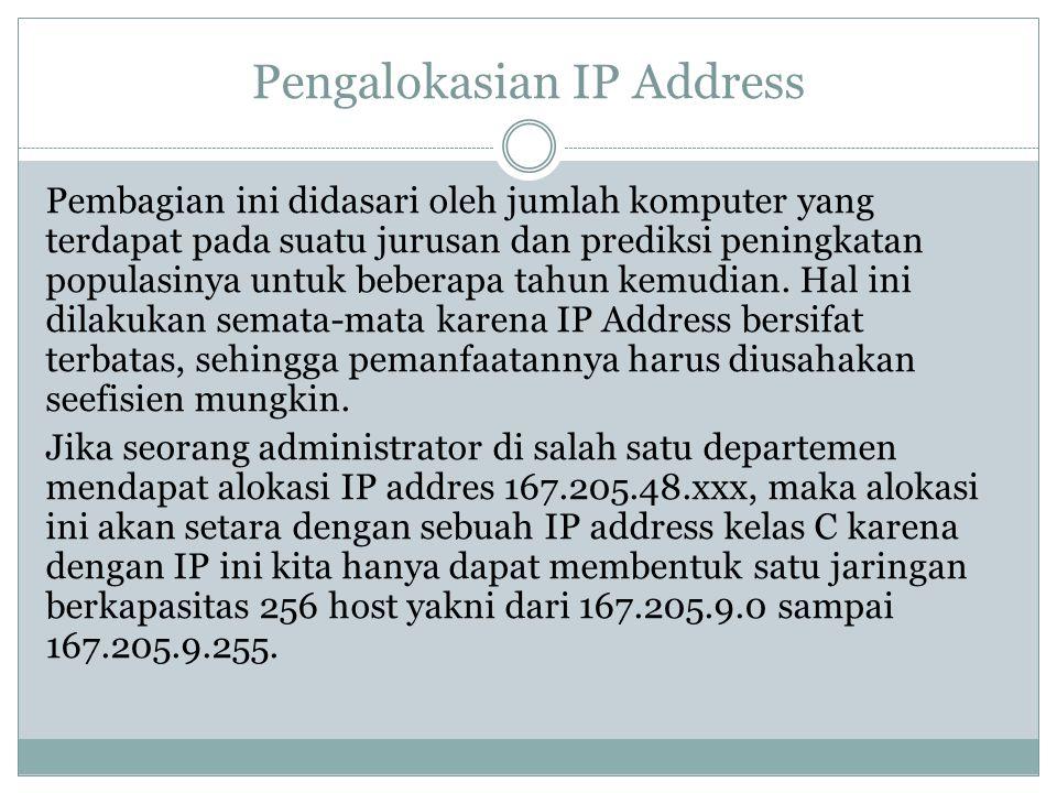 Pengalokasian IP Address Pembagian ini didasari oleh jumlah komputer yang terdapat pada suatu jurusan dan prediksi peningkatan populasinya untuk beber