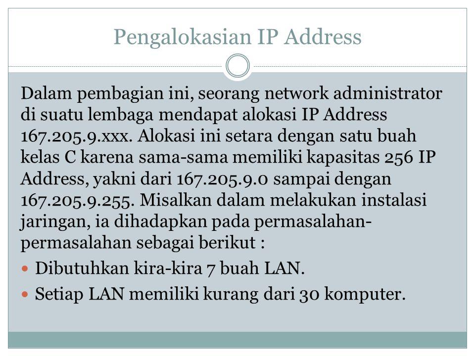 Pengalokasian IP Address Dalam pembagian ini, seorang network administrator di suatu lembaga mendapat alokasi IP Address 167.205.9.xxx. Alokasi ini se