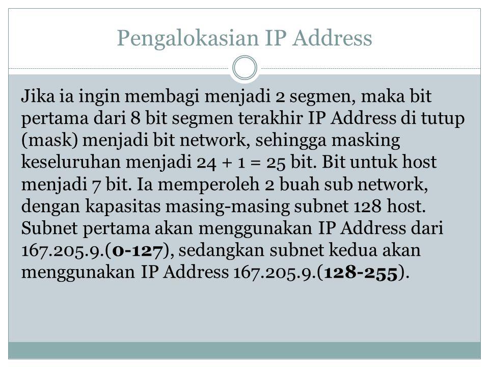 Pengalokasian IP Address Jika ia ingin membagi menjadi 2 segmen, maka bit pertama dari 8 bit segmen terakhir IP Address di tutup (mask) menjadi bit ne