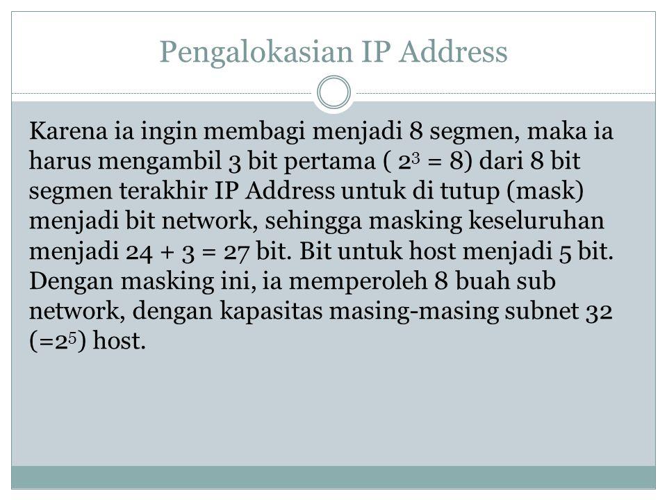 Pengalokasian IP Address Karena ia ingin membagi menjadi 8 segmen, maka ia harus mengambil 3 bit pertama ( 2 3 = 8) dari 8 bit segmen terakhir IP Addr