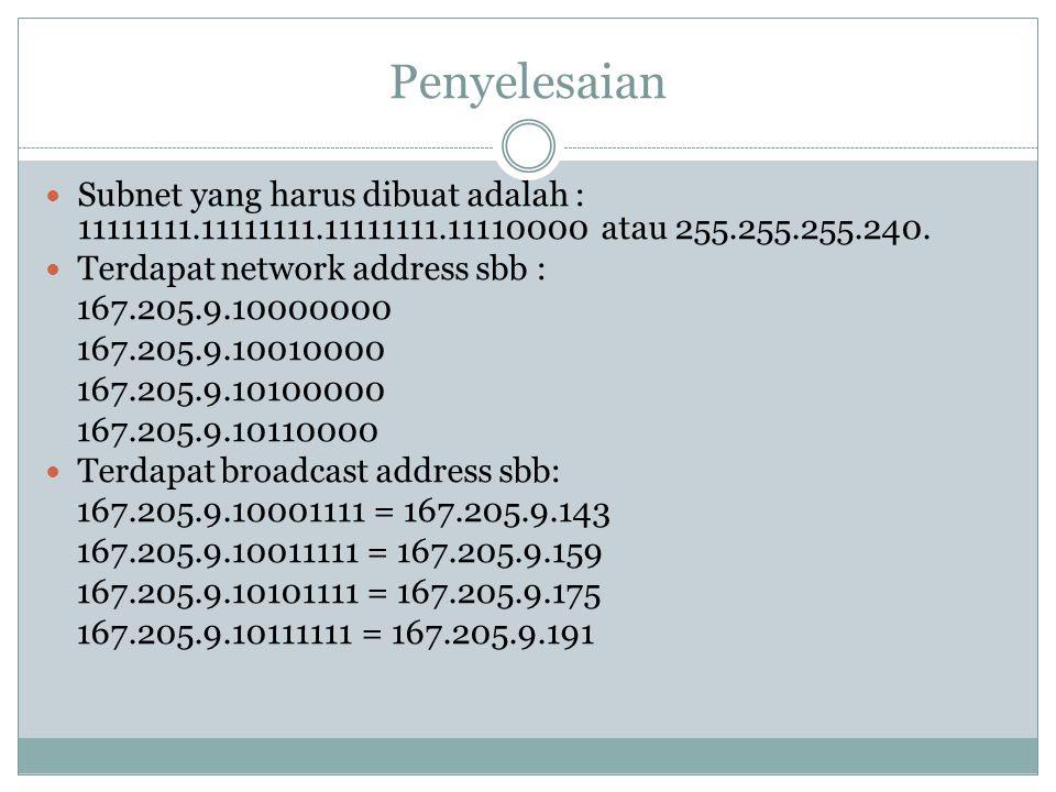 Penyelesaian  Subnet yang harus dibuat adalah : 11111111.11111111.11111111.11110000 atau 255.255.255.240.  Terdapat network address sbb : 167.205.9.