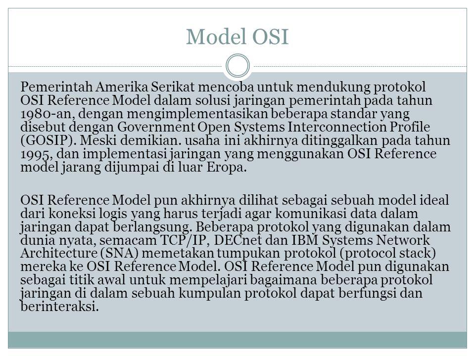 Model OSI Pemerintah Amerika Serikat mencoba untuk mendukung protokol OSI Reference Model dalam solusi jaringan pemerintah pada tahun 1980-an, dengan