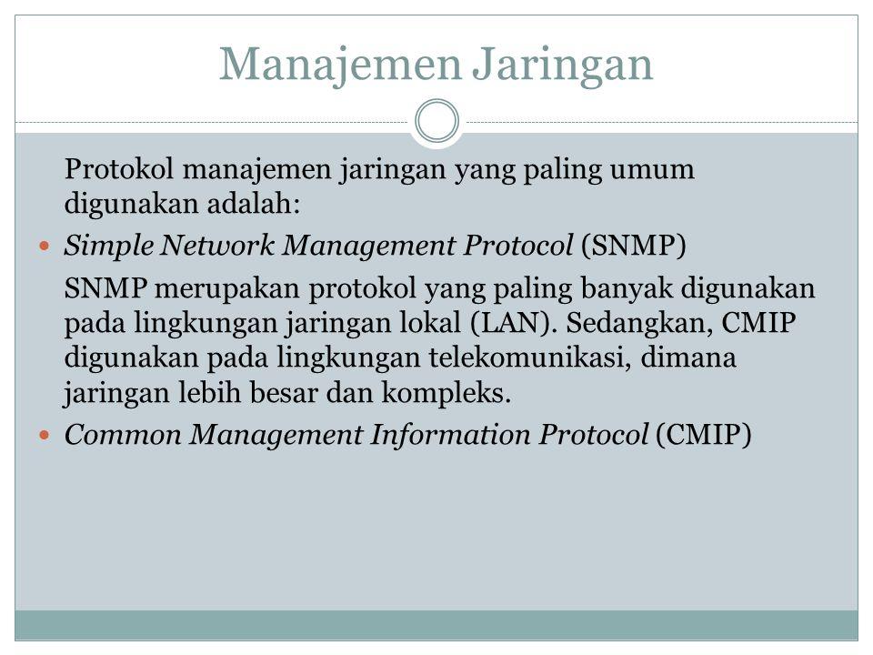 Manajemen Jaringan Protokol manajemen jaringan yang paling umum digunakan adalah:  Simple Network Management Protocol (SNMP) SNMP merupakan protokol