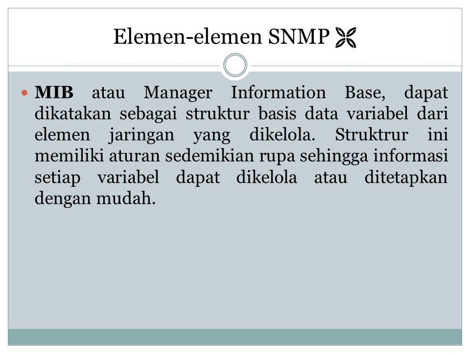 Elemen-elemen SNMP   MIB atau Manager Information Base, dapat dikatakan sebagai struktur basis data variabel dari elemen jaringan yang dikelola. Str