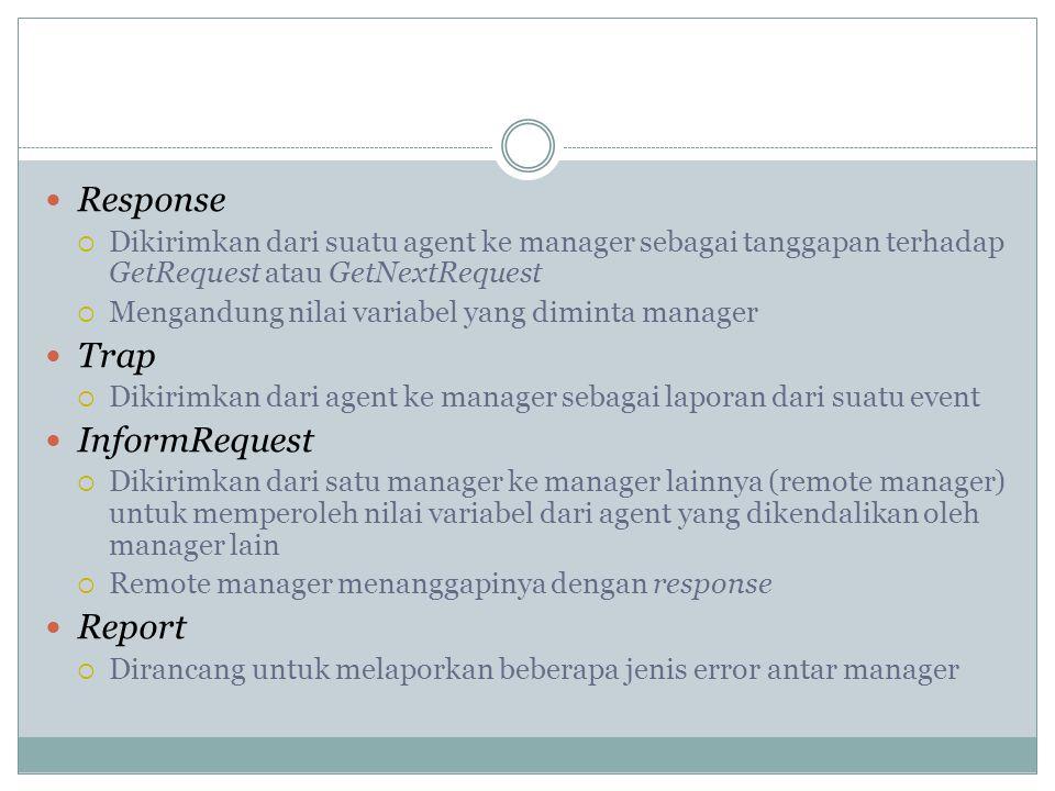  Response  Dikirimkan dari suatu agent ke manager sebagai tanggapan terhadap GetRequest atau GetNextRequest  Mengandung nilai variabel yang diminta