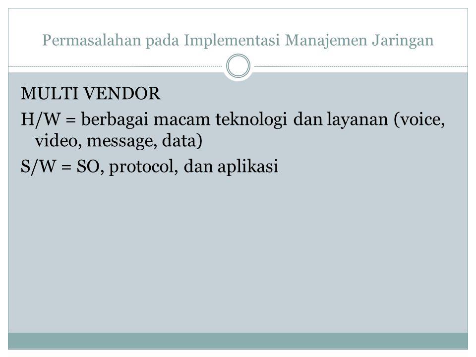 Permasalahan pada Implementasi Manajemen Jaringan MULTI VENDOR H/W = berbagai macam teknologi dan layanan (voice, video, message, data) S/W = SO, prot