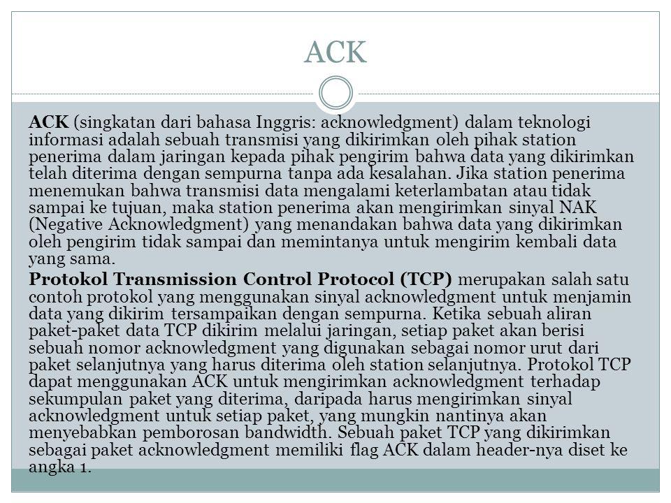 ACK ACK (singkatan dari bahasa Inggris: acknowledgment) dalam teknologi informasi adalah sebuah transmisi yang dikirimkan oleh pihak station penerima