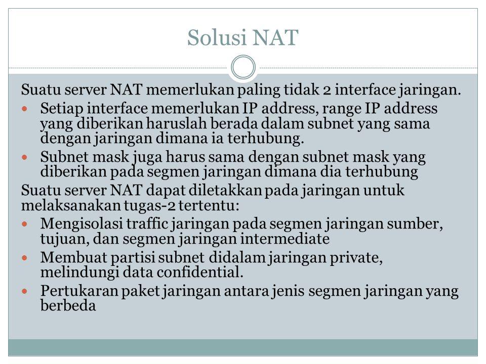 Solusi NAT Suatu server NAT memerlukan paling tidak 2 interface jaringan.  Setiap interface memerlukan IP address, range IP address yang diberikan ha