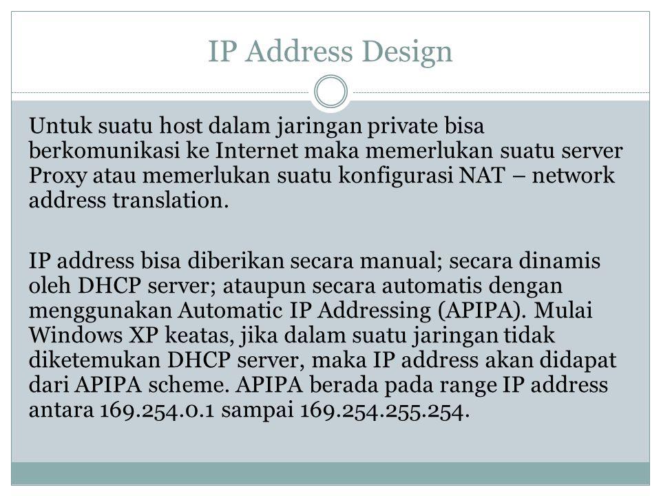 IP Address Design Untuk suatu host dalam jaringan private bisa berkomunikasi ke Internet maka memerlukan suatu server Proxy atau memerlukan suatu konf