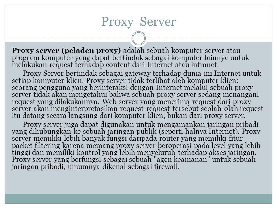 Proxy Server Proxy server (peladen proxy) adalah sebuah komputer server atau program komputer yang dapat bertindak sebagai komputer lainnya untuk mela
