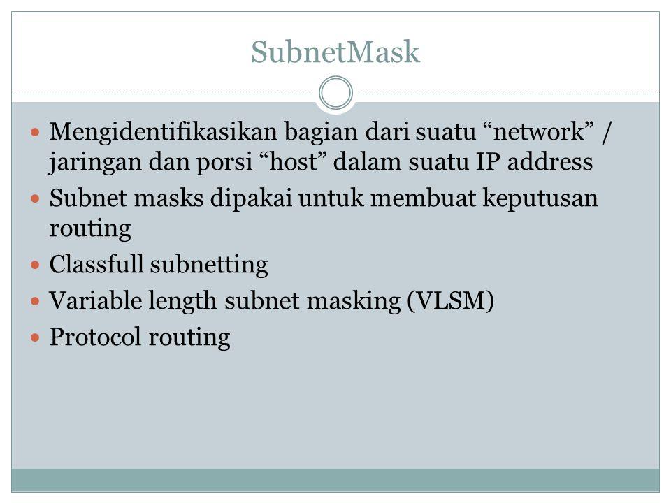 " Mengidentifikasikan bagian dari suatu ""network"" / jaringan dan porsi ""host"" dalam suatu IP address  Subnet masks dipakai untuk membuat keputusan ro"