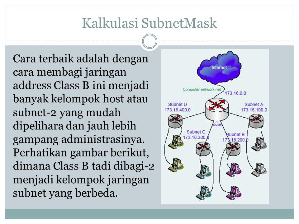Kalkulasi SubnetMask Cara terbaik adalah dengan cara membagi jaringan address Class B ini menjadi banyak kelompok host atau subnet-2 yang mudah dipeli