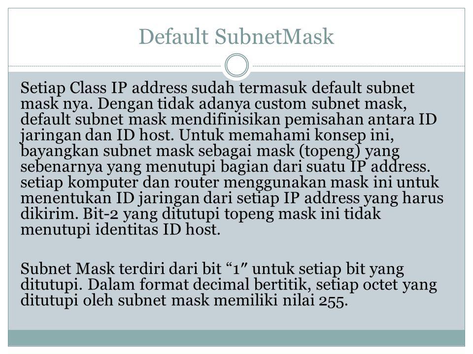 Default SubnetMask Setiap Class IP address sudah termasuk default subnet mask nya. Dengan tidak adanya custom subnet mask, default subnet mask mendifi