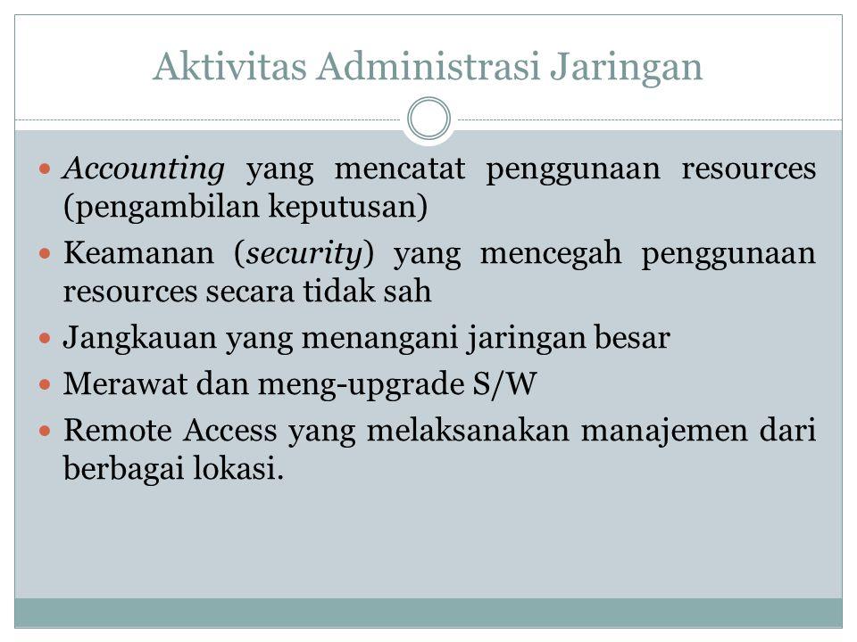 Aktivitas Administrasi Jaringan  Accounting yang mencatat penggunaan resources (pengambilan keputusan)  Keamanan (security) yang mencegah penggunaan