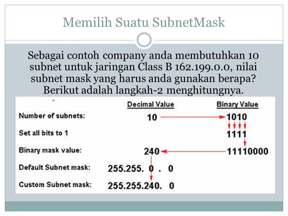 Memilih Suatu SubnetMask Sebagai contoh company anda membutuhkan 10 subnet untuk jaringan Class B 162.199.0.0, nilai subnet mask yang harus anda gunak