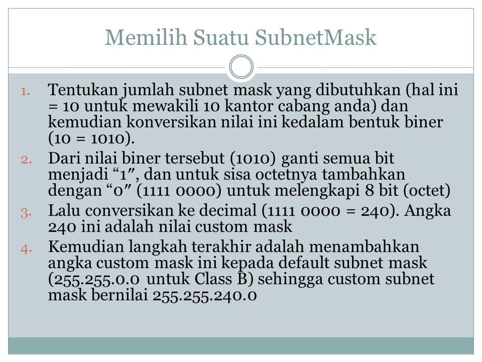 Memilih Suatu SubnetMask 1. Tentukan jumlah subnet mask yang dibutuhkan (hal ini = 10 untuk mewakili 10 kantor cabang anda) dan kemudian konversikan n