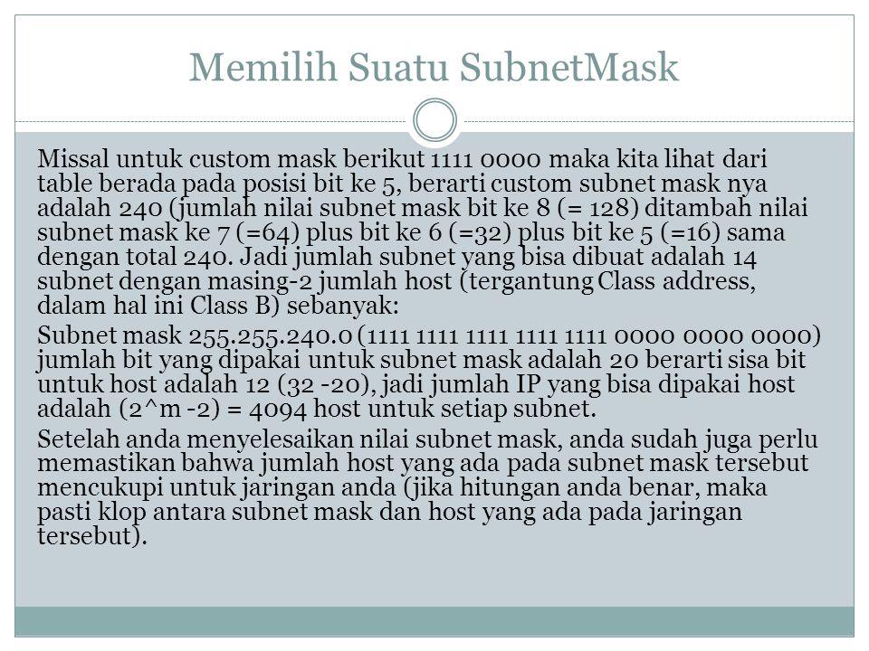 Memilih Suatu SubnetMask Missal untuk custom mask berikut 1111 0000 maka kita lihat dari table berada pada posisi bit ke 5, berarti custom subnet mask