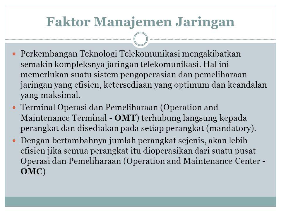 Faktor Manajemen Jaringan  Perkembangan Teknologi Telekomunikasi mengakibatkan semakin kompleksnya jaringan telekomunikasi. Hal ini memerlukan suatu