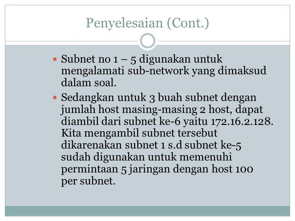 Penyelesaian (Cont.)  Subnet no 1 – 5 digunakan untuk mengalamati sub-network yang dimaksud dalam soal.  Sedangkan untuk 3 buah subnet dengan jumlah