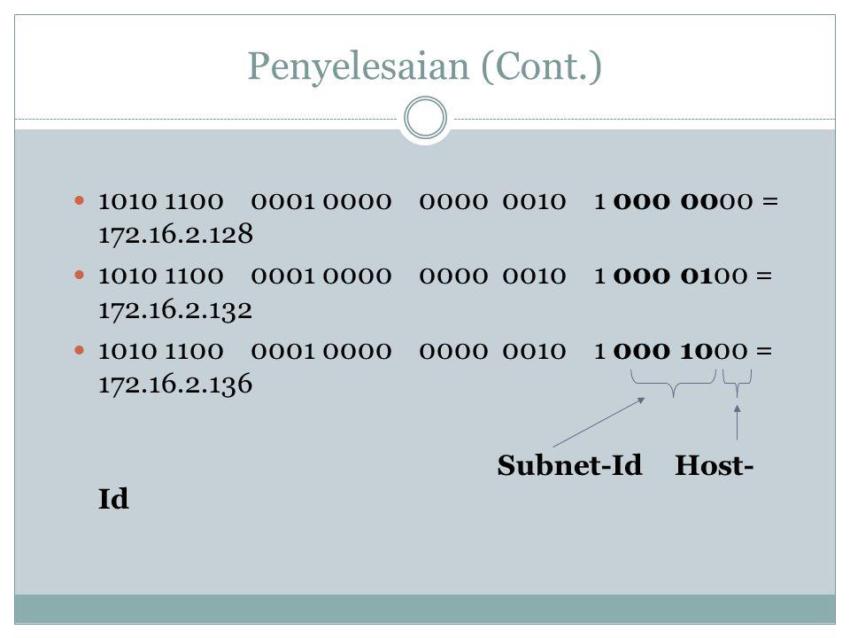 Penyelesaian (Cont.)  1010 1100 0001 0000 0000 0010 1 000 0000 = 172.16.2.128  1010 1100 0001 0000 0000 0010 1 000 0100 = 172.16.2.132  1010 1100 0