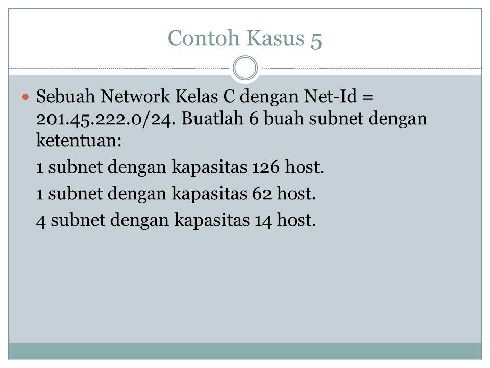 Contoh Kasus 5  Sebuah Network Kelas C dengan Net-Id = 201.45.222.0/24. Buatlah 6 buah subnet dengan ketentuan: 1 subnet dengan kapasitas 126 host. 1