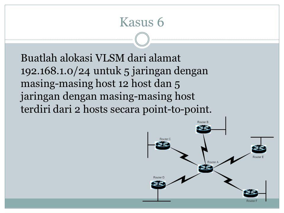 Kasus 6 Buatlah alokasi VLSM dari alamat 192.168.1.0/24 untuk 5 jaringan dengan masing-masing host 12 host dan 5 jaringan dengan masing-masing host te