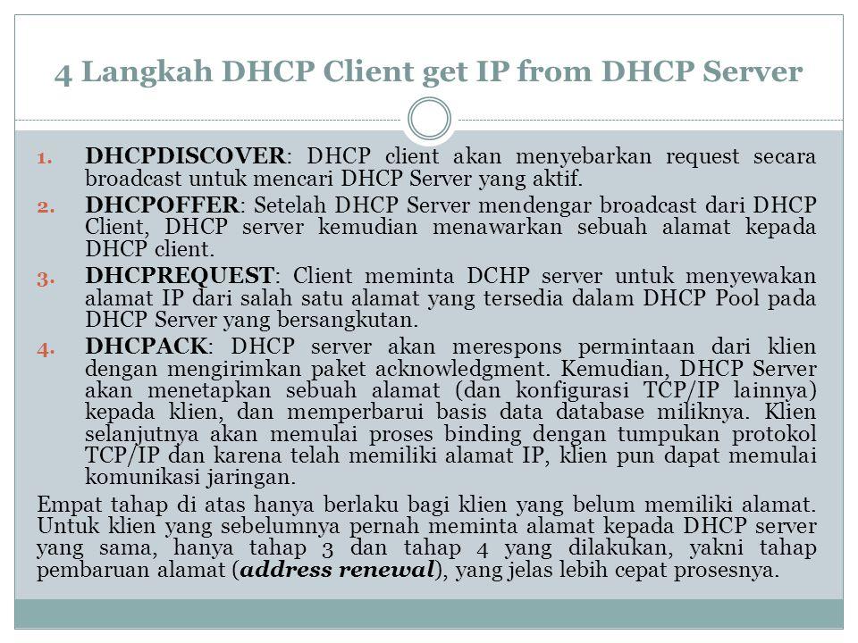 4 Langkah DHCP Client get IP from DHCP Server 1. DHCPDISCOVER: DHCP client akan menyebarkan request secara broadcast untuk mencari DHCP Server yang ak