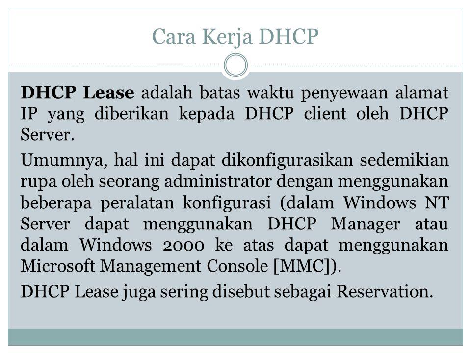 Cara Kerja DHCP DHCP Lease adalah batas waktu penyewaan alamat IP yang diberikan kepada DHCP client oleh DHCP Server. Umumnya, hal ini dapat dikonfigu