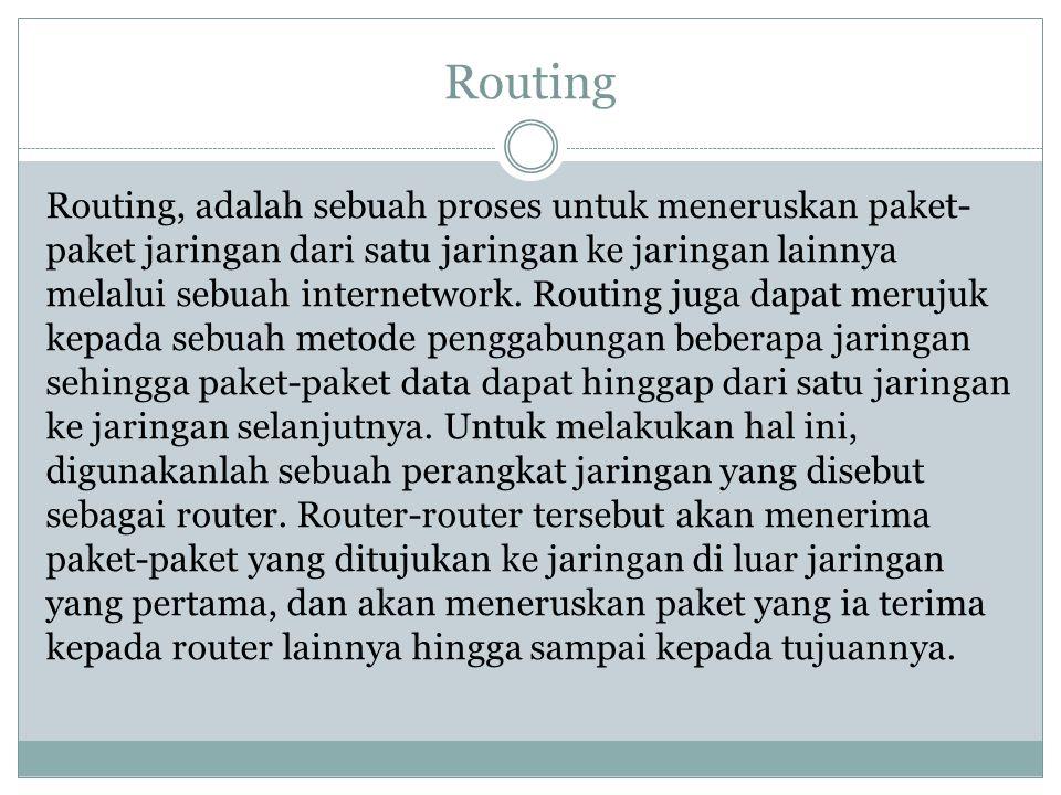 Routing Routing, adalah sebuah proses untuk meneruskan paket- paket jaringan dari satu jaringan ke jaringan lainnya melalui sebuah internetwork. Routi