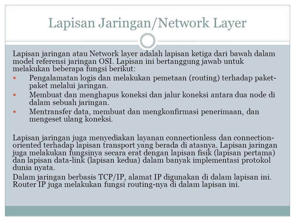 Lapisan Jaringan/Network Layer Lapisan jaringan atau Network layer adalah lapisan ketiga dari bawah dalam model referensi jaringan OSI. Lapisan ini be