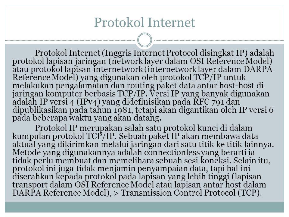 Protokol Internet Protokol Internet (Inggris Internet Protocol disingkat IP) adalah protokol lapisan jaringan (network layer dalam OSI Reference Model