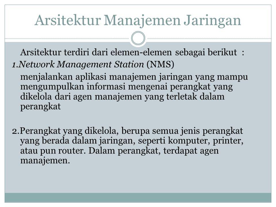 Arsitektur terdiri dari elemen-elemen sebagai berikut : 1.Network Management Station (NMS) menjalankan aplikasi manajemen jaringan yang mampu mengumpu
