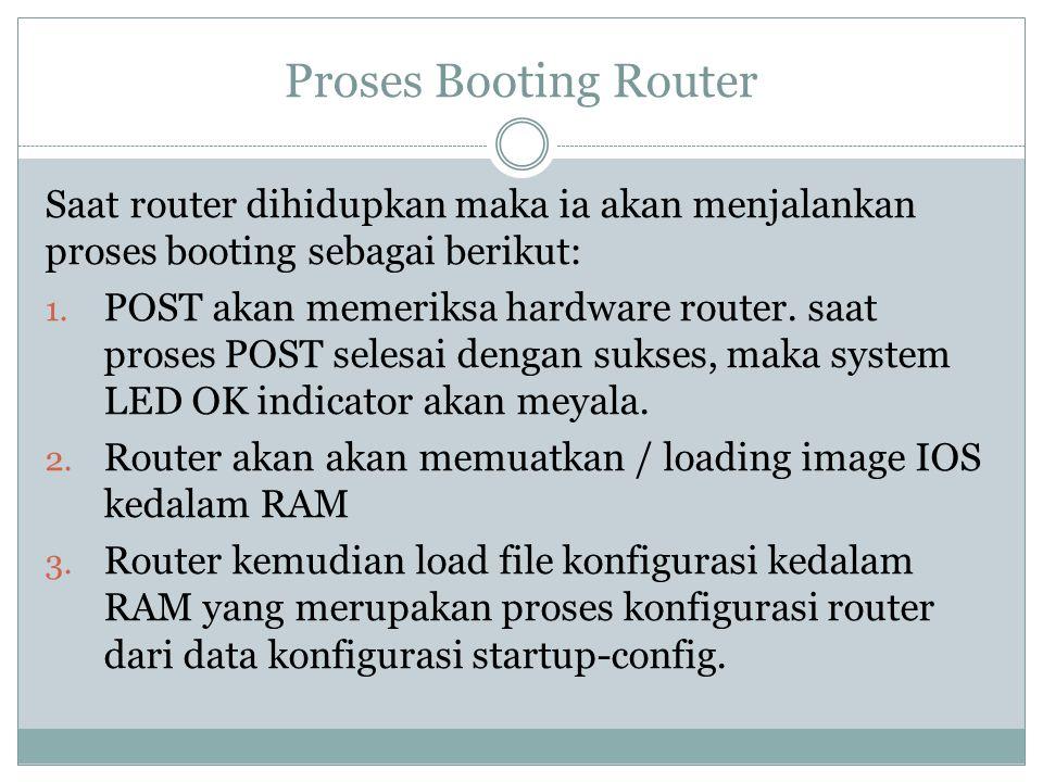 Proses Booting Router Saat router dihidupkan maka ia akan menjalankan proses booting sebagai berikut: 1. POST akan memeriksa hardware router. saat pro