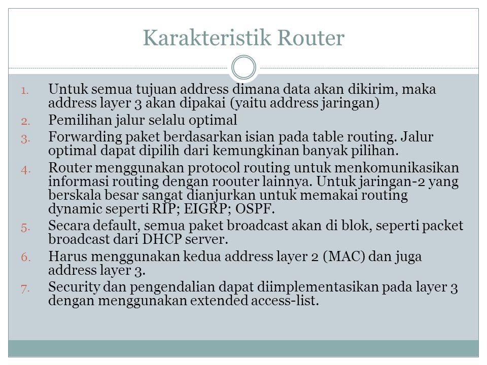 Karakteristik Router 1. Untuk semua tujuan address dimana data akan dikirim, maka address layer 3 akan dipakai (yaitu address jaringan) 2. Pemilihan j