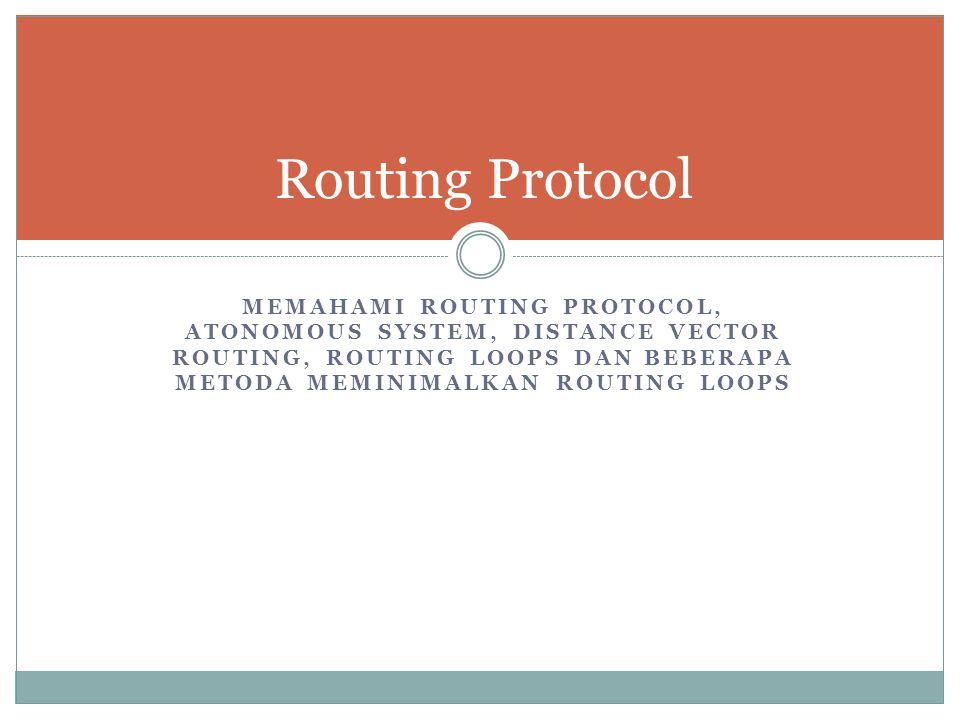 MEMAHAMI ROUTING PROTOCOL, ATONOMOUS SYSTEM, DISTANCE VECTOR ROUTING, ROUTING LOOPS DAN BEBERAPA METODA MEMINIMALKAN ROUTING LOOPS Routing Protocol