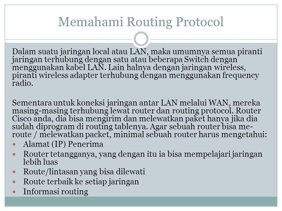 Memahami Routing Protocol Dalam suatu jaringan local atau LAN, maka umumnya semua piranti jaringan terhubung dengan satu atau beberapa Switch dengan m