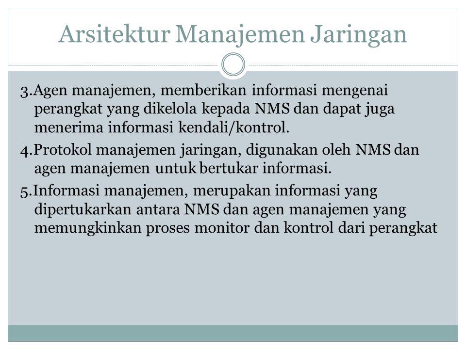 Arsitektur Manajemen Jaringan 3.Agen manajemen, memberikan informasi mengenai perangkat yang dikelola kepada NMS dan dapat juga menerima informasi ken