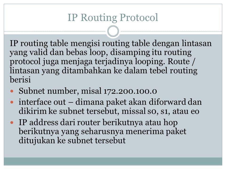 IP Routing Protocol IP routing table mengisi routing table dengan lintasan yang valid dan bebas loop, disamping itu routing protocol juga menjaga terj