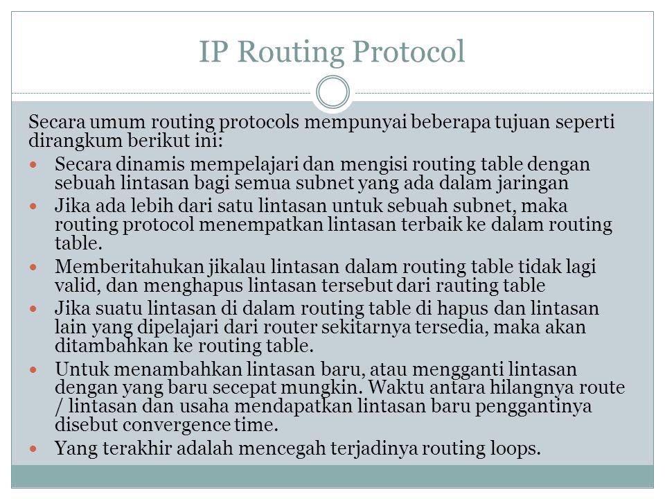 IP Routing Protocol Secara umum routing protocols mempunyai beberapa tujuan seperti dirangkum berikut ini:  Secara dinamis mempelajari dan mengisi ro