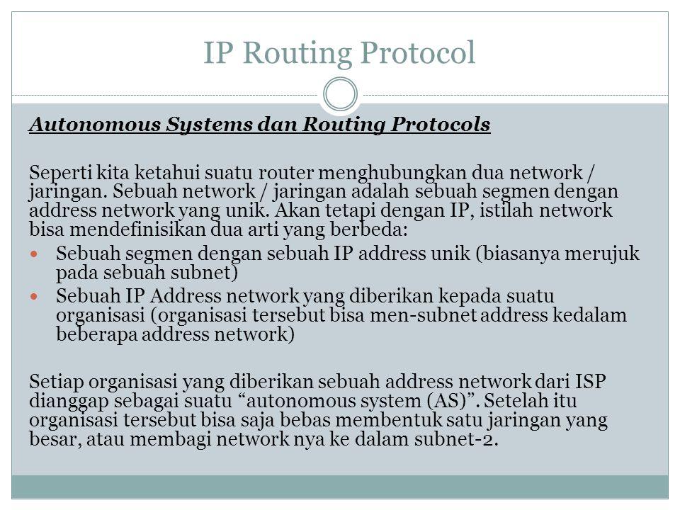 IP Routing Protocol Autonomous Systems dan Routing Protocols Seperti kita ketahui suatu router menghubungkan dua network / jaringan. Sebuah network /