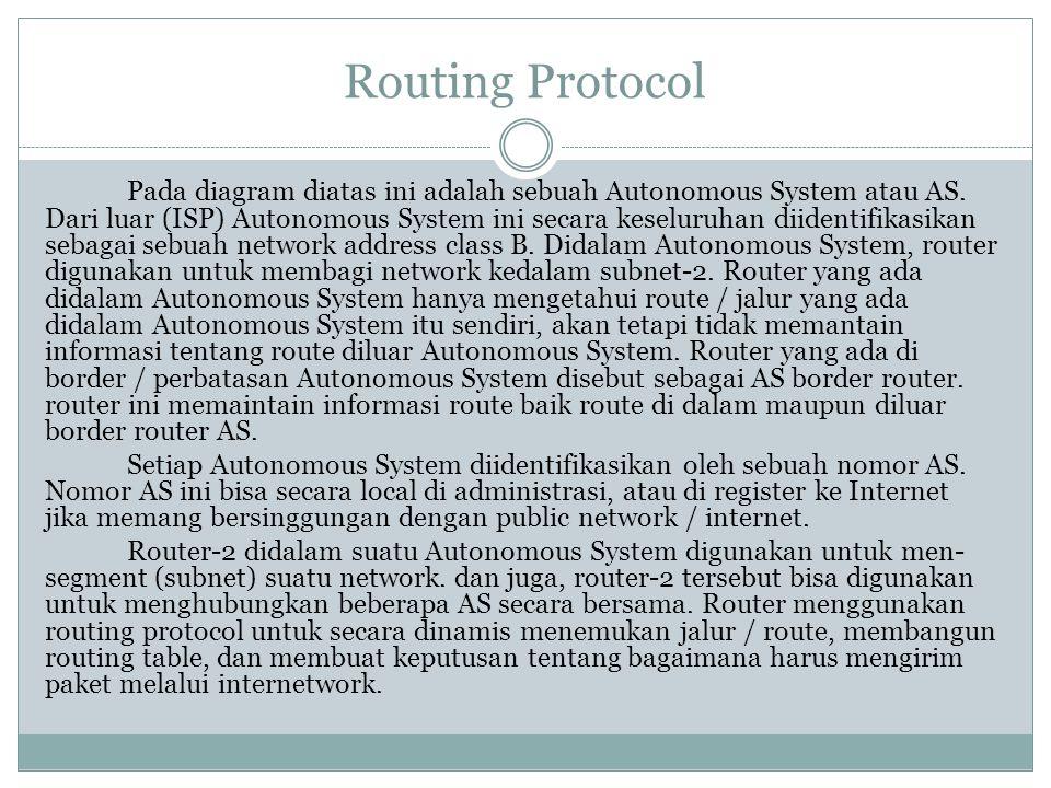 Routing Protocol Pada diagram diatas ini adalah sebuah Autonomous System atau AS. Dari luar (ISP) Autonomous System ini secara keseluruhan diidentifik