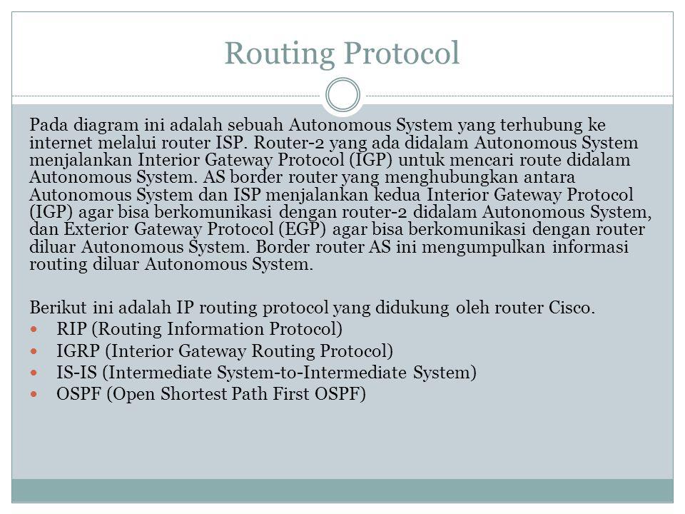 Routing Protocol Pada diagram ini adalah sebuah Autonomous System yang terhubung ke internet melalui router ISP. Router-2 yang ada didalam Autonomous