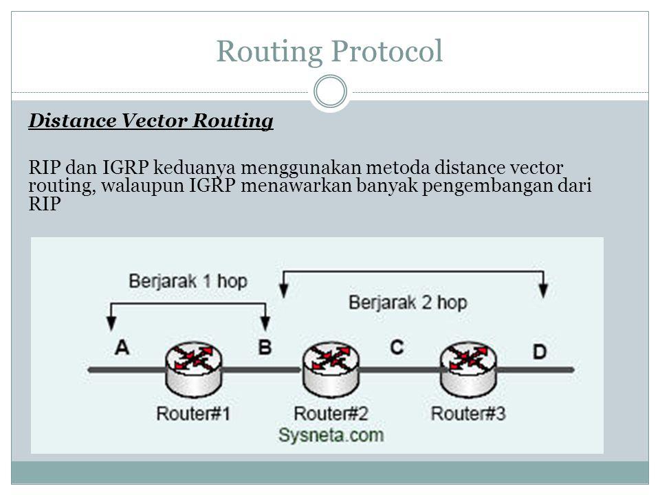 Routing Protocol Distance Vector Routing RIP dan IGRP keduanya menggunakan metoda distance vector routing, walaupun IGRP menawarkan banyak pengembanga