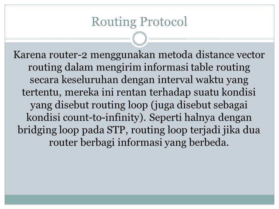 Routing Protocol Karena router-2 menggunakan metoda distance vector routing dalam mengirim informasi table routing secara keseluruhan dengan interval